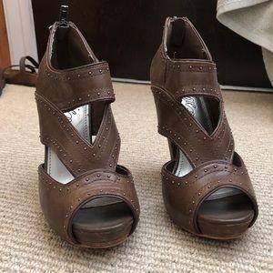 Studded brown platform heels